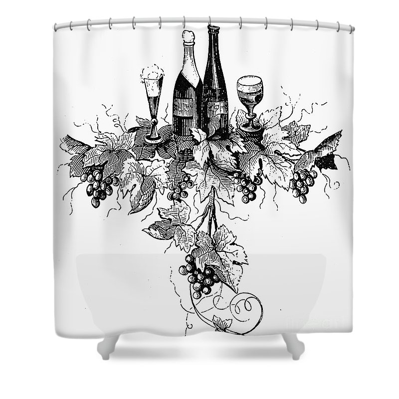 19th Century Shower Curtain Featuring The Photograph Wine And Champagne By Granger