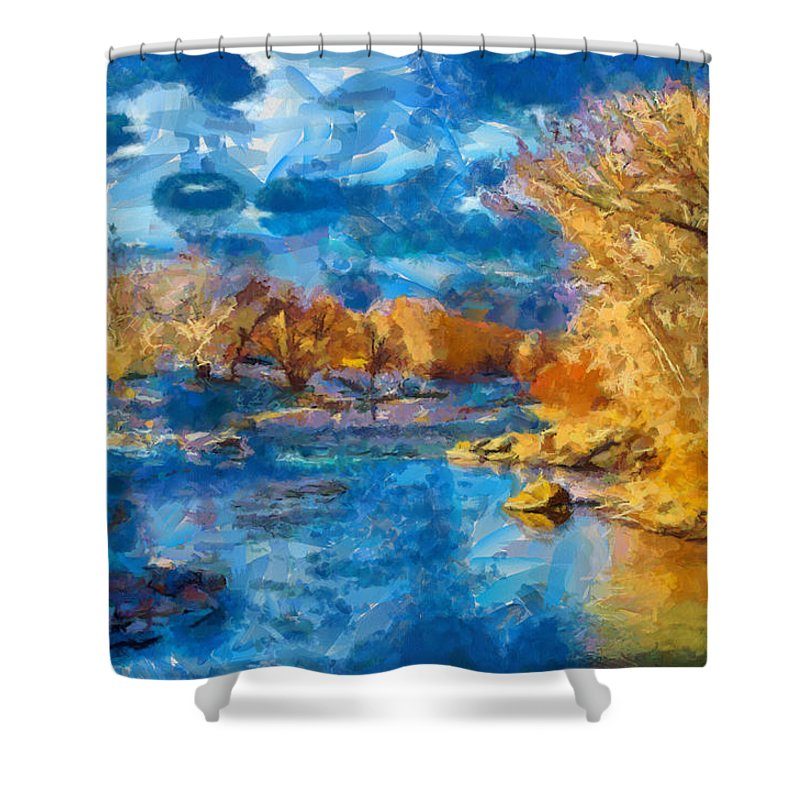 Santa Shower Curtain featuring the digital art Winter In Salida -- Renoir by Charles Muhle