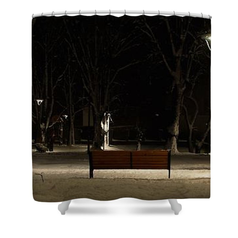 Winter Shower Curtain featuring the photograph Winter in the park by Amalia Suruceanu