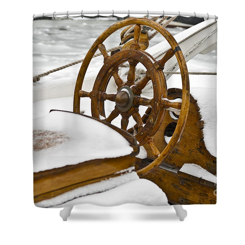 Europe Shower Curtain featuring the photograph Winter On Board by Heiko Koehrer-Wagner