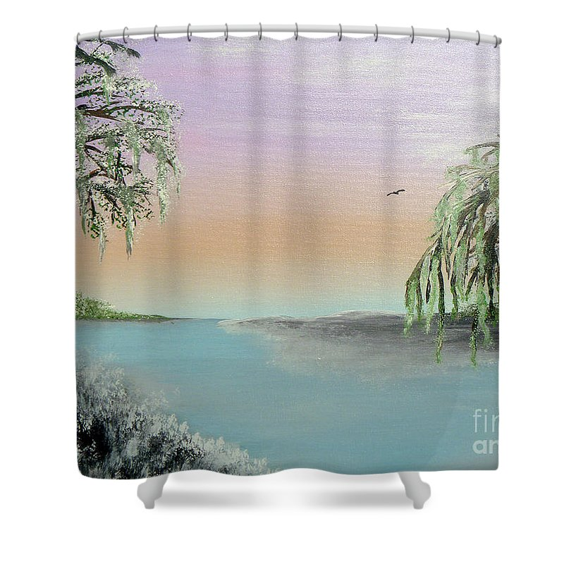 Lake Ponchartrain Shower Curtain featuring the painting Winter On Lake Ponchartrain II by Alys Caviness-Gober
