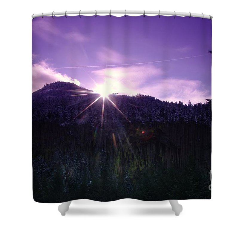 Shower Curtain featuring the photograph Winter Sun Winking Over The Mountains by Jeff Swan