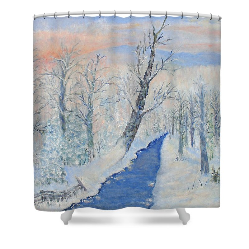 Winter Shower Curtain featuring the painting Winter Sunrise by Ben Kiger