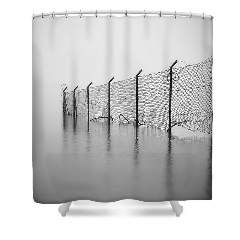 Fence Shower Curtain Featuring The Photograph Wire Mesh By Joana Kruse