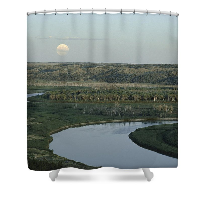 Charles M. Russell National Wildlife Refuge Shower Curtain featuring the photograph With A Full Moon Rising, The Meandering by James P. Blair