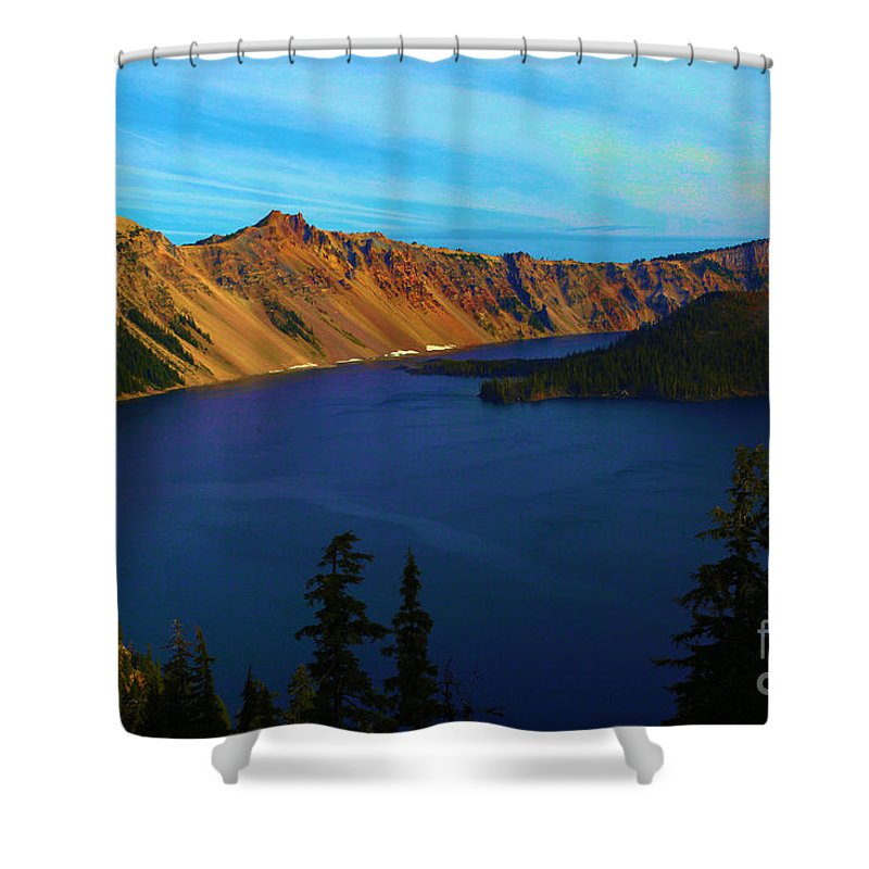 Crater Lake National Park Shower Curtain featuring the photograph Wizard In The Crater by Adam Jewell