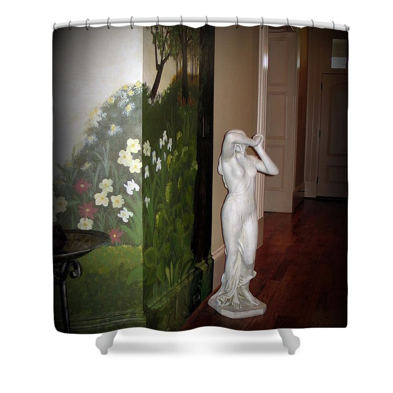 Statue Shower Curtain featuring the photograph Woeful Maiden by Renee Trenholm