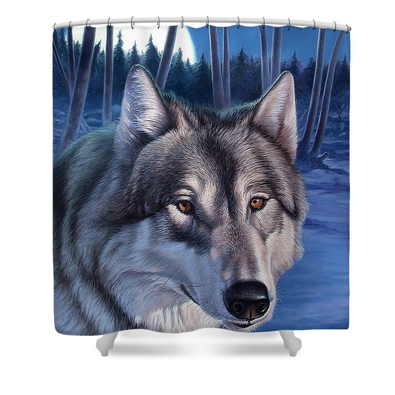 Wolf Shower Curtain featuring the painting Wolf In Moonlight by Hans Droog
