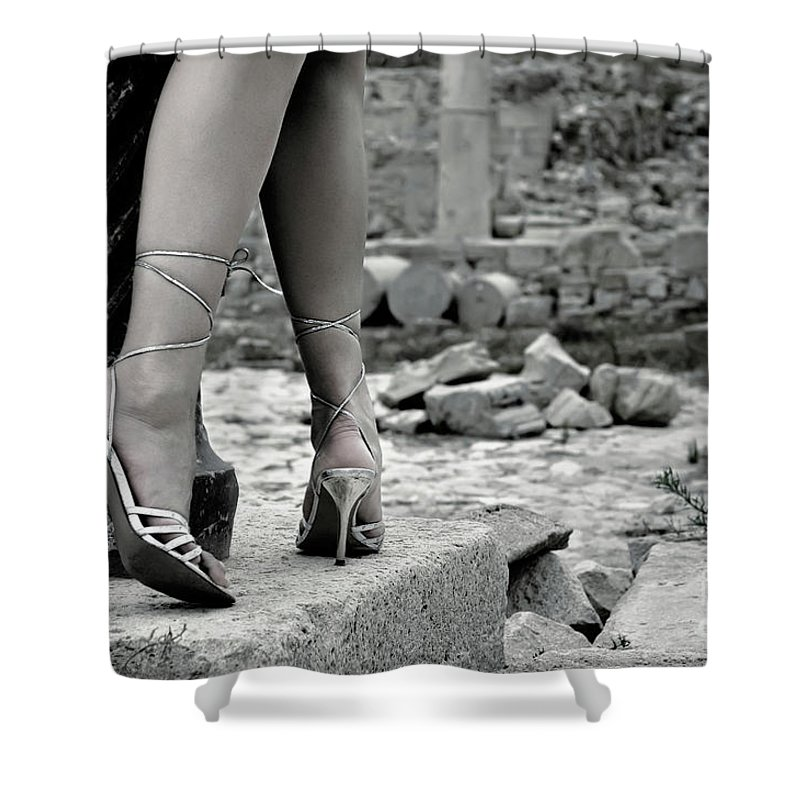Legs Shower Curtain featuring the photograph Woman Among Remains Of An Ancient Temple by Oleksiy Maksymenko