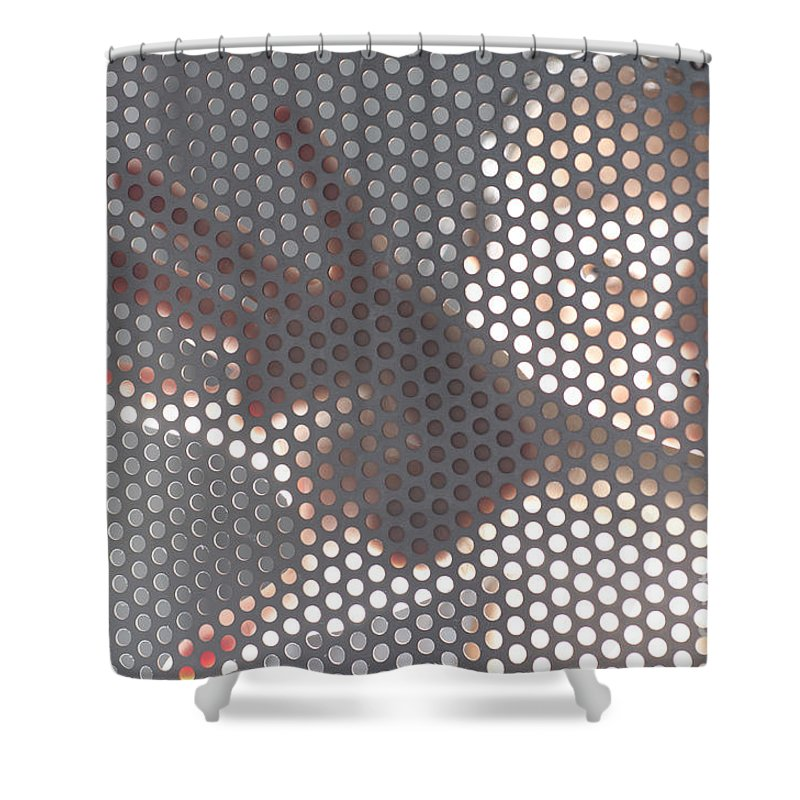 Hand Shower Curtain Featuring The Photograph Woman Behind A Metal Mesh By Mats Silvan