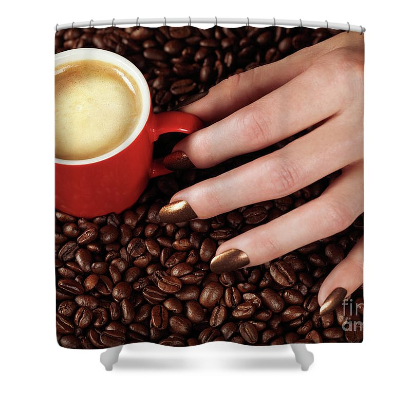 Coffee Shower Curtain featuring the photograph Woman Hand Holding A Cup Of Latte by Oleksiy Maksymenko