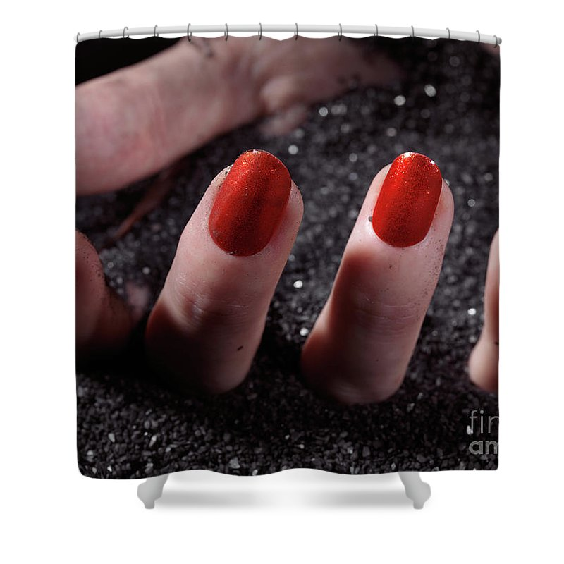 Manicure Shower Curtain featuring the photograph Woman Hand With Red Nail Polish Buried In Black Sand by Oleksiy Maksymenko