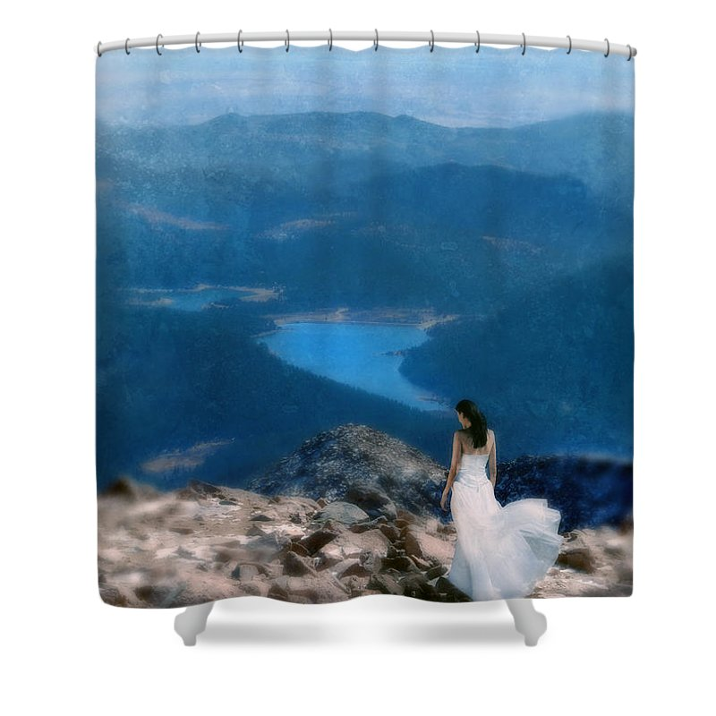 Woman Shower Curtain featuring the photograph Woman In White Gown On Mountain Top by Jill Battaglia