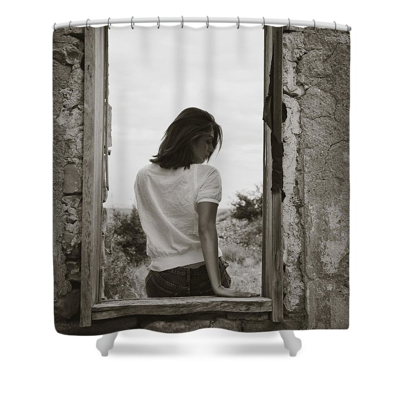 Woman Shower Curtain featuring the photograph Woman In Window by Scott Sawyer