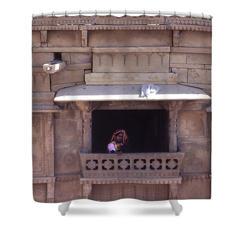 Rajasthan Shower Curtain featuring the photograph Woman On The Balcony by David Halperin