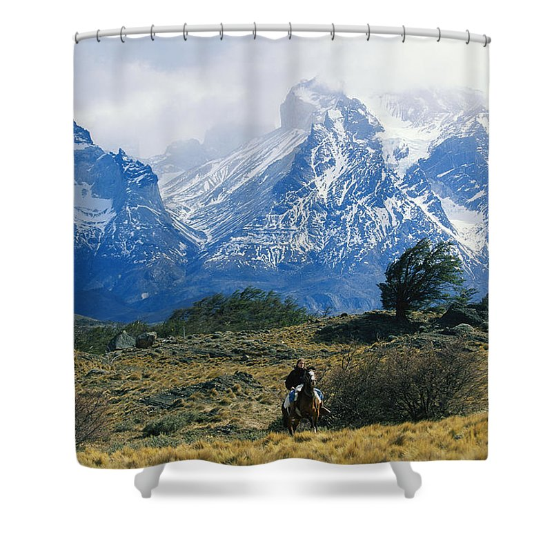 South America Shower Curtain featuring the photograph Woman Riding Horseback, Torres Del by Skip Brown