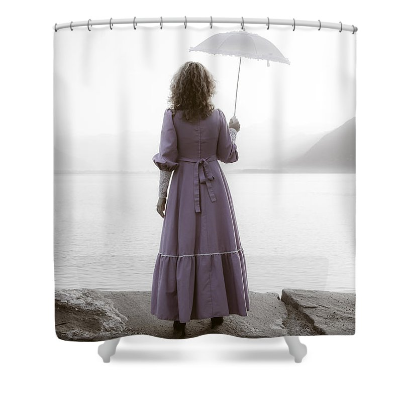 Woman Shower Curtain featuring the photograph Woman With Parasol by Joana Kruse