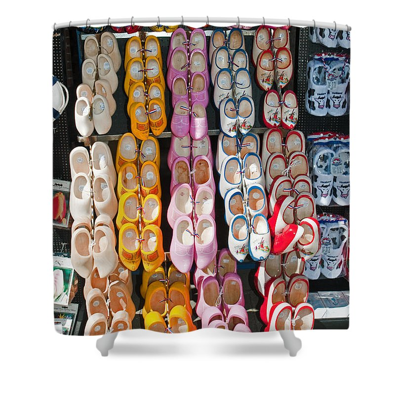 Row Shower Curtain featuring the photograph Wooden Shoes by Jim Chamberlain