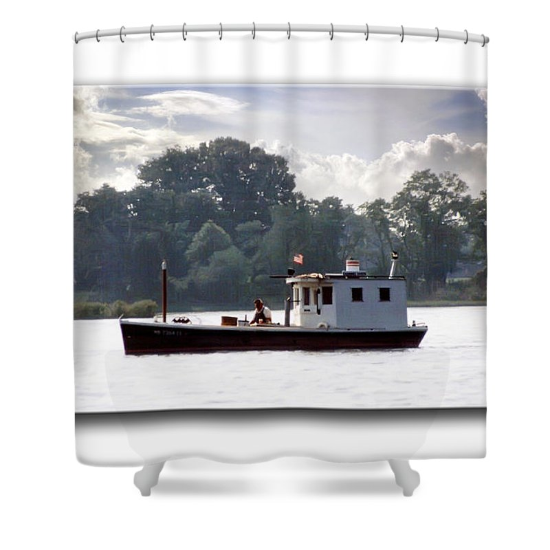 2d Shower Curtain featuring the photograph Workboat by Brian Wallace