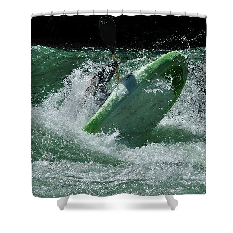 Kayaking Shower Curtain featuring the photograph Working The Rapids by Vivian Christopher