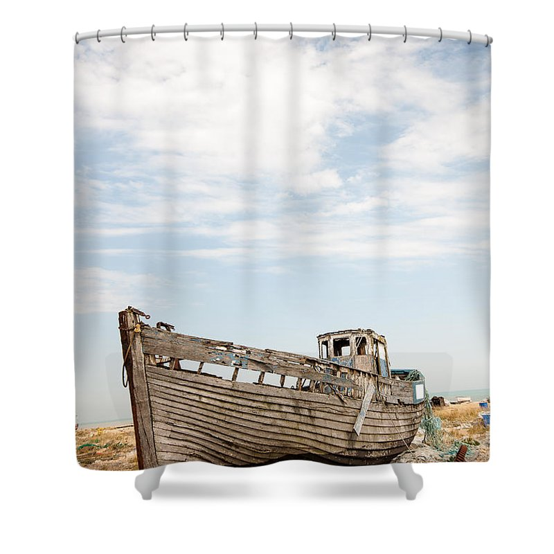 Boat Shower Curtain Featuring The Photograph Wrecked By Dawn OConnor