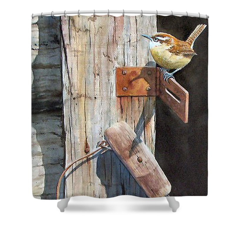 Watercolor Shower Curtain featuring the painting Wrental Property Sold Prints Available by Sandy Brindle