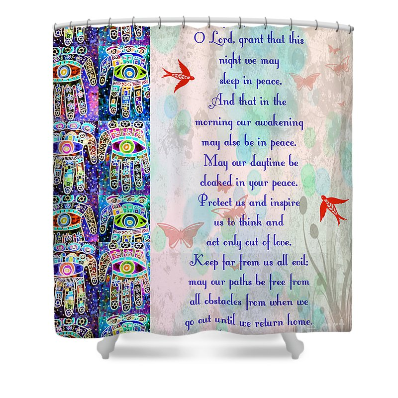 Shower Curtain featuring the painting x Judaica Prayer Of Protection by Sandra Silberzweig