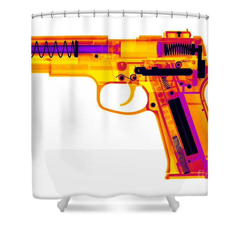 Xray Shower Curtain featuring the photograph X-ray Of An Air Gun by Ted Kinsman