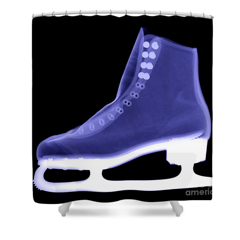 X-ray Shower Curtain featuring the photograph X-ray Of An Ice Skate by Ted Kinsman