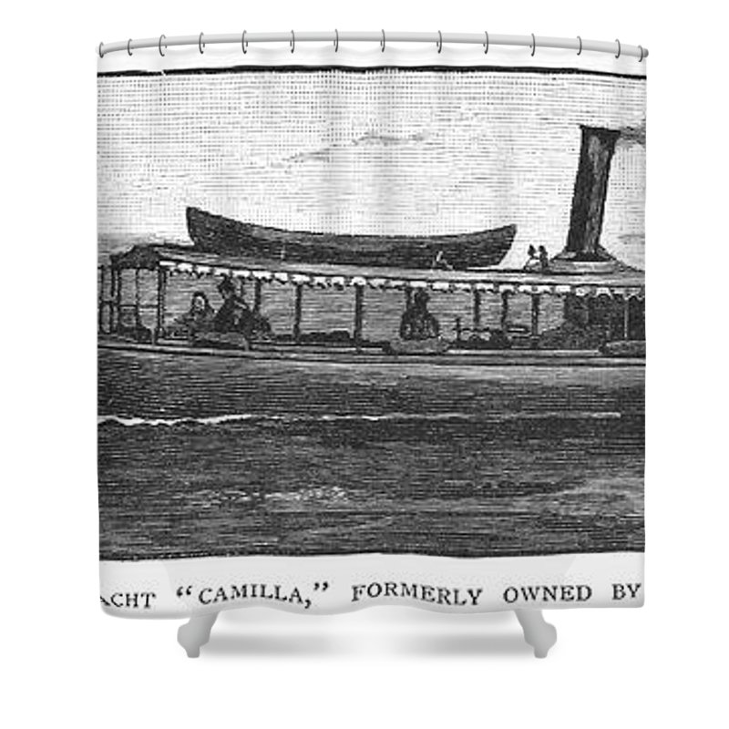 1882 Shower Curtain featuring the photograph Yacht, 1882 by Granger