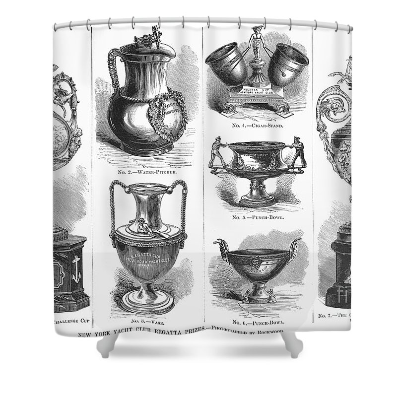 1871 Shower Curtain featuring the photograph Yachting Trophies, 1871 by Granger
