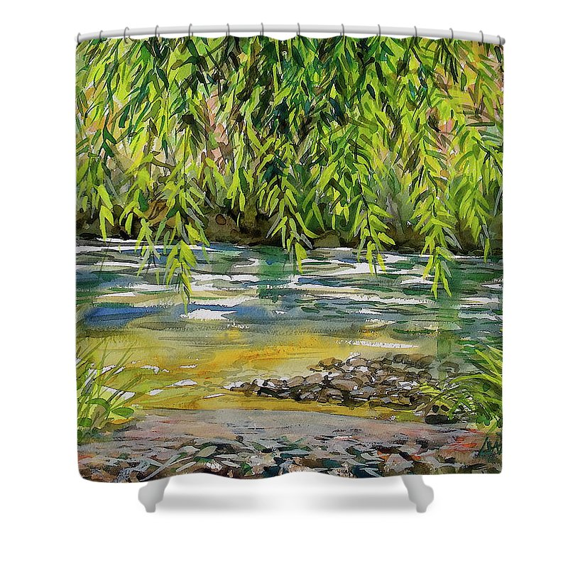 Plein Air Watercolor Shower Curtain featuring the painting Yakima River by Lynne Haines