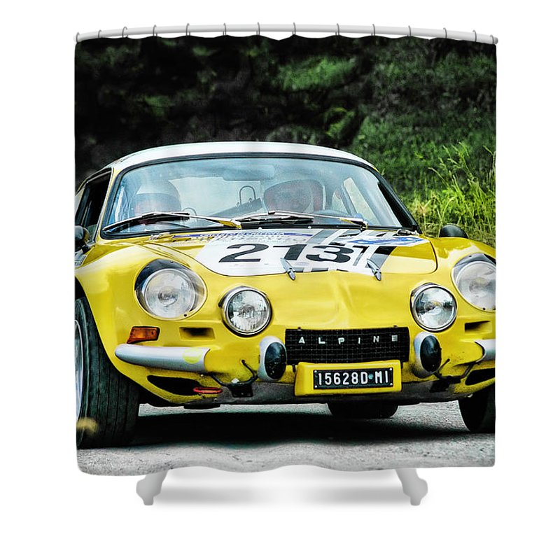 Car Shower Curtain featuring the photograph Yellow Alpine Renault by Alain De Maximy