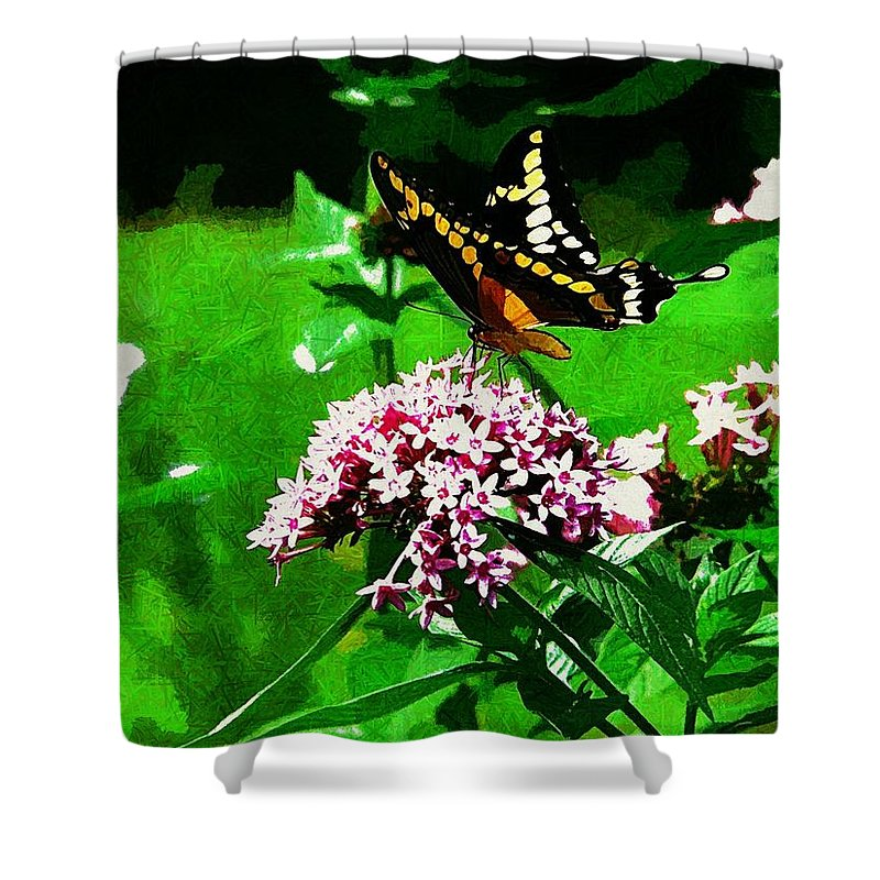 Yellow Butterfly Flower Shower Curtain featuring the photograph Yellow Butterfly by Alice Gipson