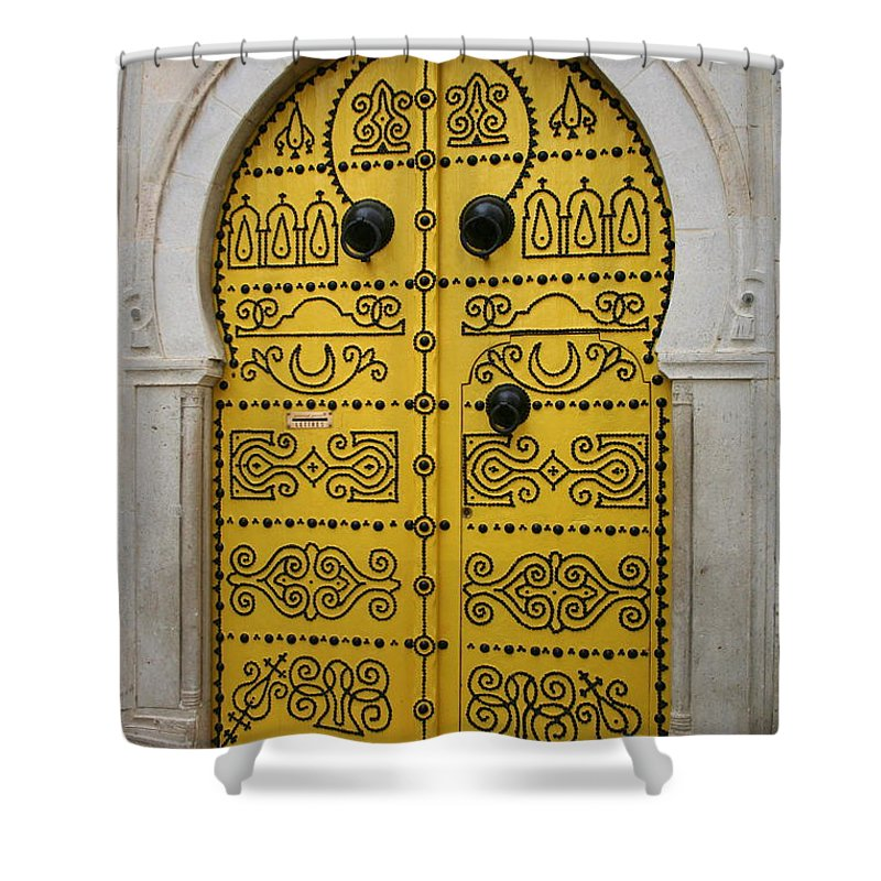 Yellow Shower Curtain featuring the photograph Yellow Door In Bardo by Laurel Talabere