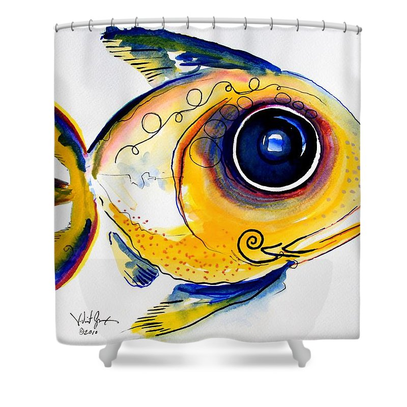 Fish Shower Curtain featuring the painting Yellow Study Fish by J Vincent Scarpace