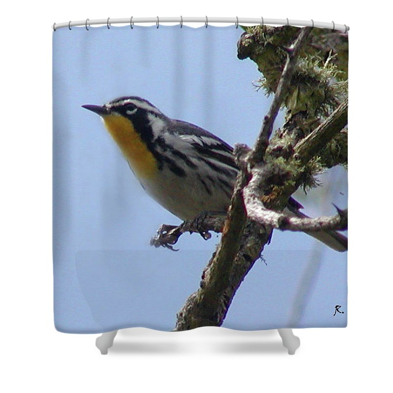 Roena King Shower Curtain featuring the photograph Yellow-throated Warbler by Roena King