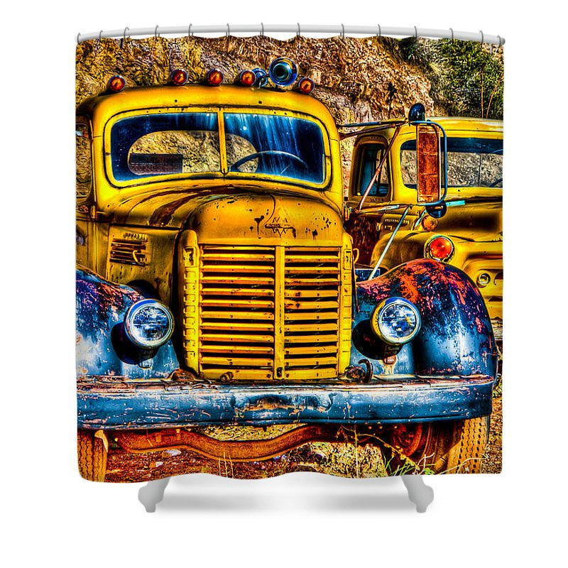Old Truck Shower Curtain featuring the photograph Yellow Trucks by Jon Berghoff