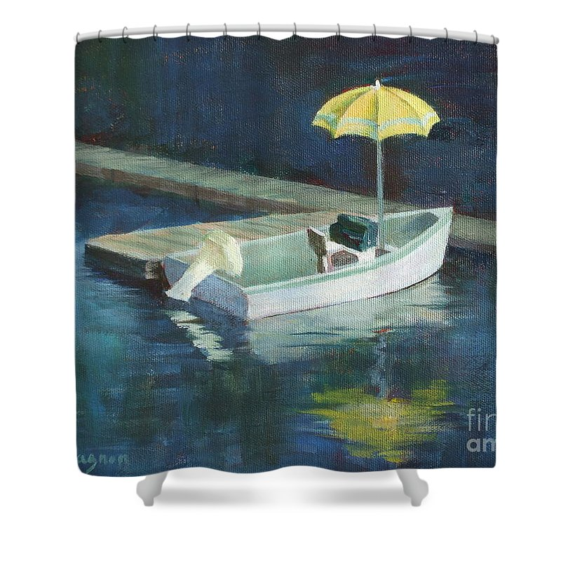 Outdoors Shower Curtain featuring the painting Yellow Umbrella by Claire Gagnon