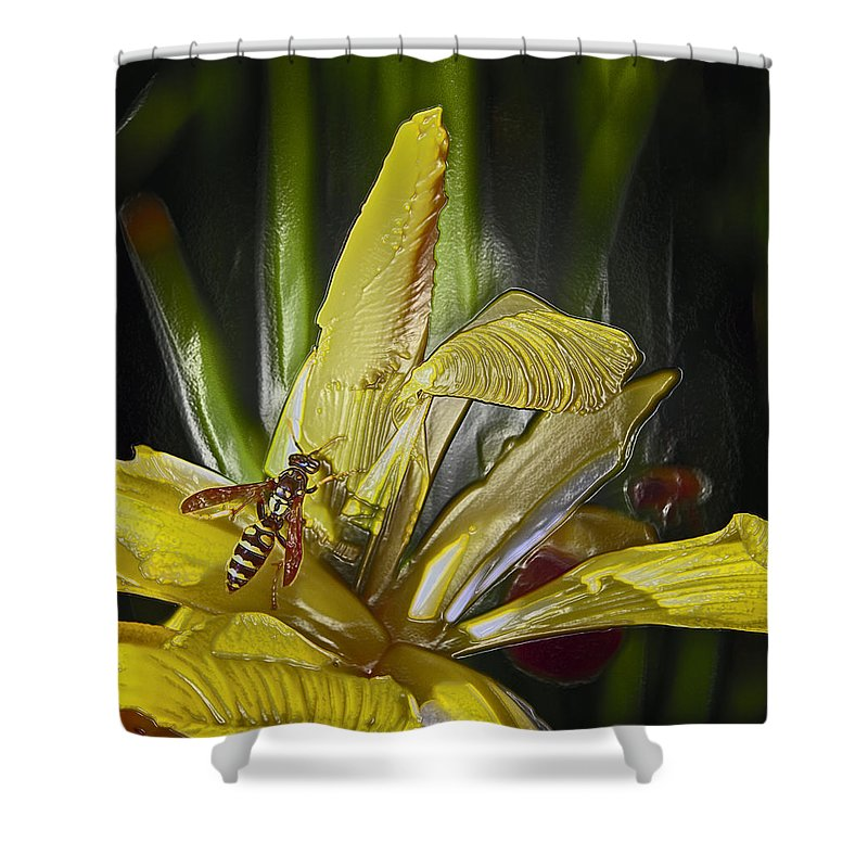 Yellowjacket Shower Curtain featuring the photograph Yellowjacket by Bill Owen