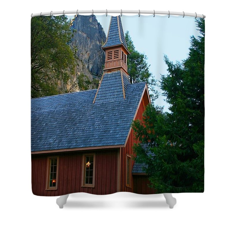 Park Shower Curtain featuring the photograph Yosemite Chapel by Henrik Lehnerer