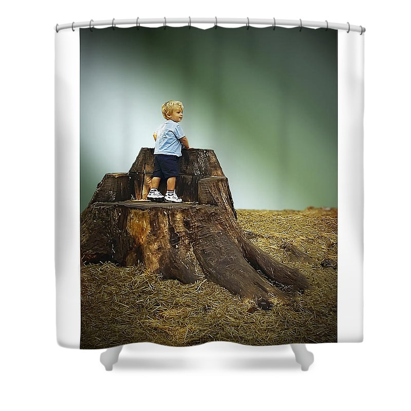 2d Shower Curtain featuring the photograph Young Boy by Brian Wallace