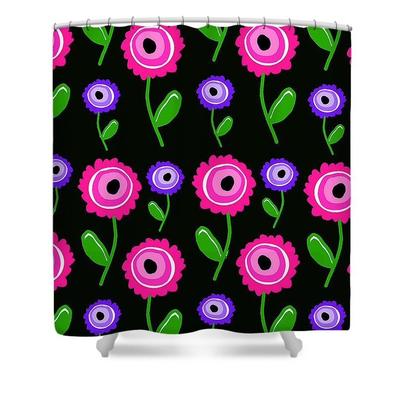 Young Florals (digital) By Louisa Knight (contemporary Artist) Shower Curtain featuring the digital art Young Florals by Louisa Knight