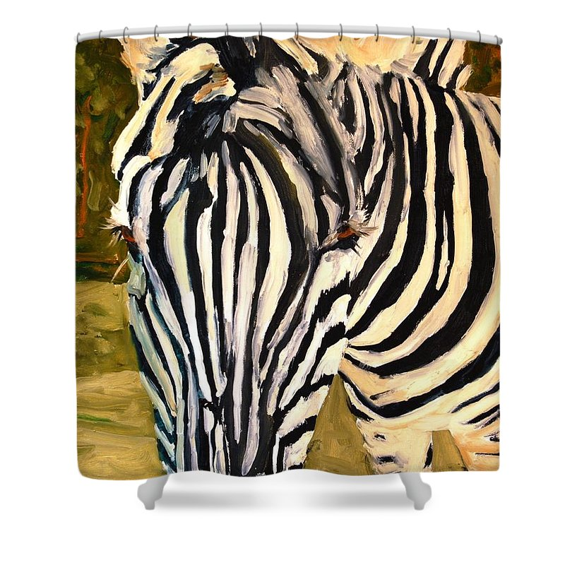 Art Shower Curtain featuring the painting Zebra Stripes by Miriam Schulman