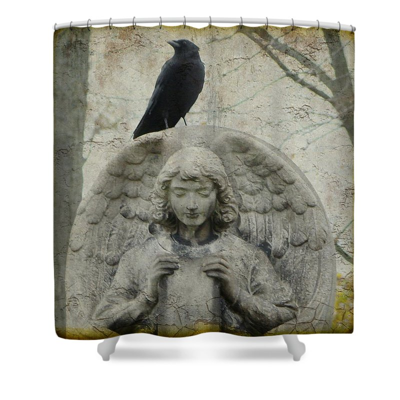 Angel Wings Shower Curtain featuring the photograph Zen Crow On Stone Angel by Gothicrow Images