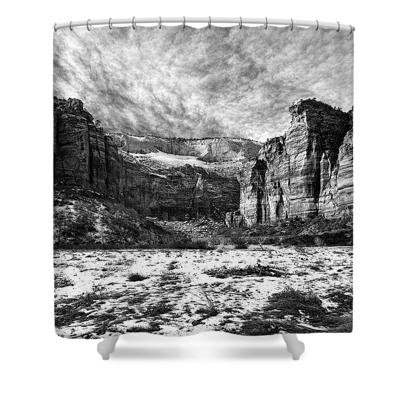 Mountain Shower Curtain featuring the photograph Zion Canyon - Bw by Christopher Holmes