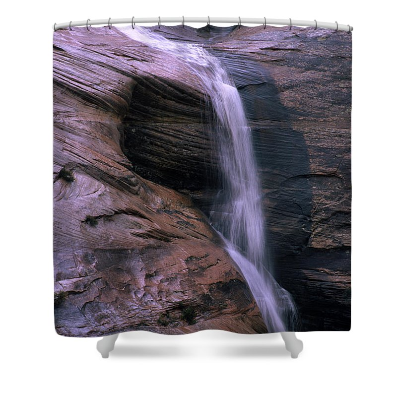 Southwest Shower Curtain featuring the photograph Zion Summer Waterfall by Sandra Bronstein