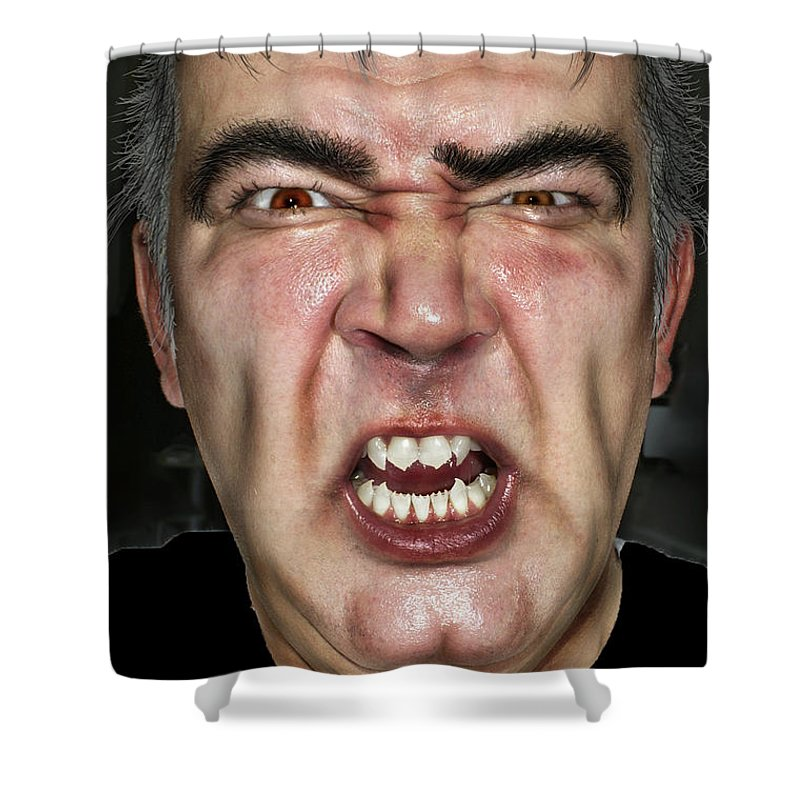Face Shower Curtain featuring the photograph Zombie by Henri Irizarri