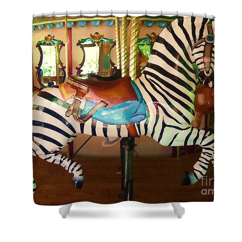 Digital Shower Curtain featuring the digital art Zoo Carousel 2012 by Kathryn Strick