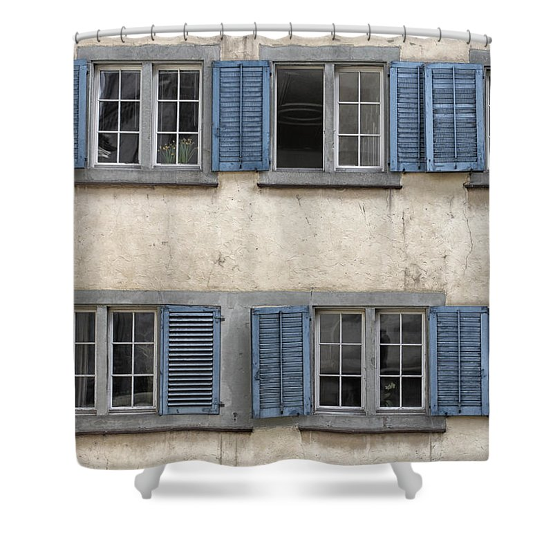 Zurich Shower Curtain featuring the photograph Zurich Window Shutters by Lauri Novak